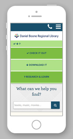 "phone with DBRL website, central menu bar open to ""Download It"""