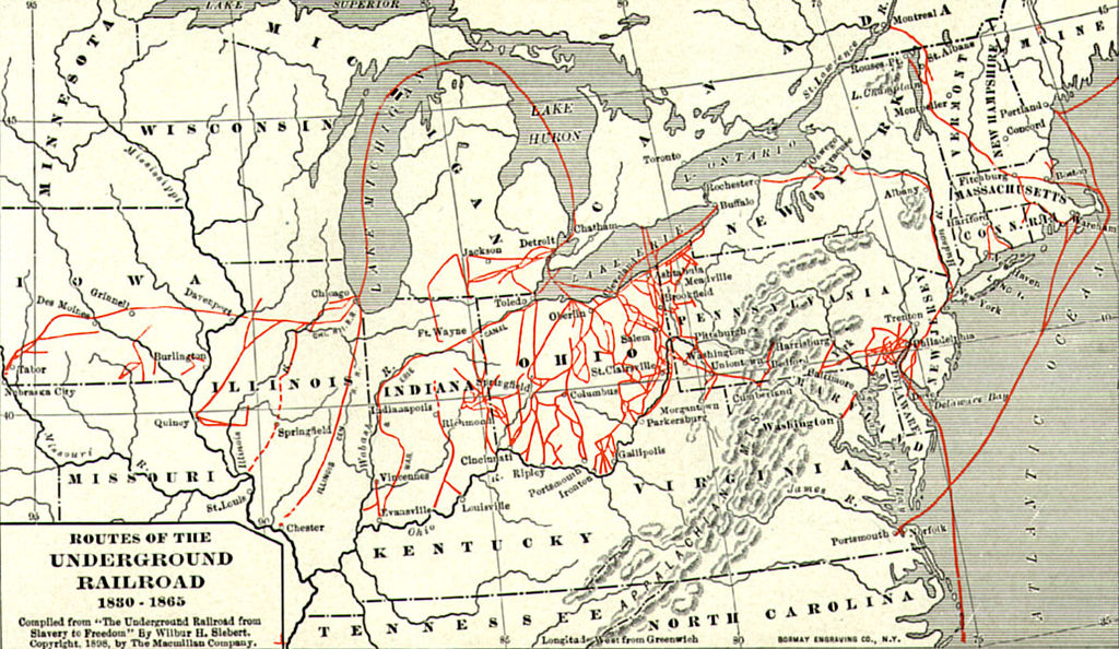 map of Underground Railroad
