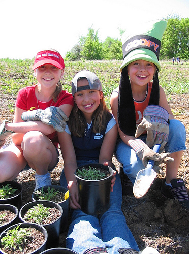 Photo of children planting a garden