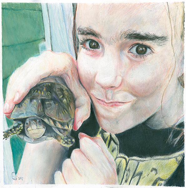 colored pencil drawing of girl with turtle