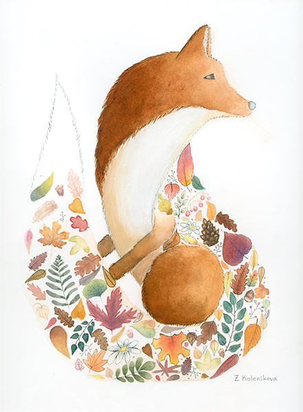 watercolor of fox with collage of fall foliage