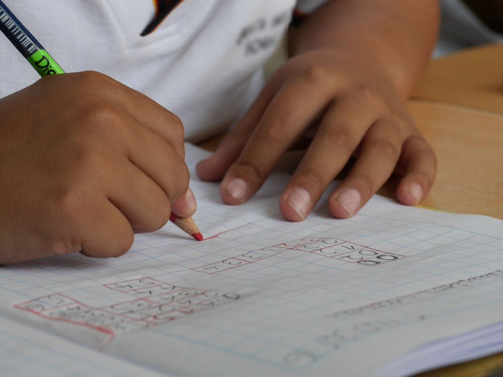 photo of a child practicing math