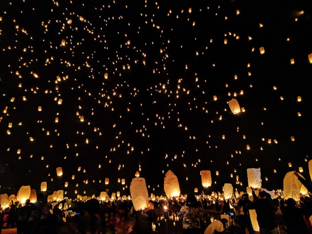 photo of floating lanterns