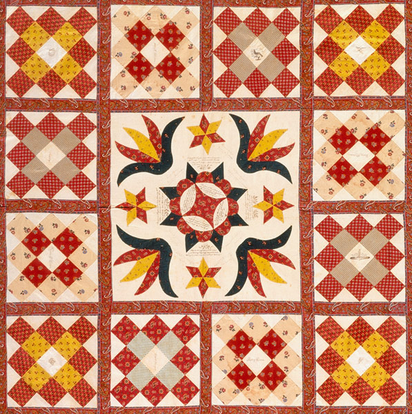 detail from a memorial quilt c. 1850, LACMA