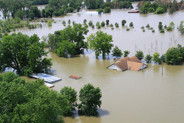 Flooding along the Missouri River- flooded neighboorhood