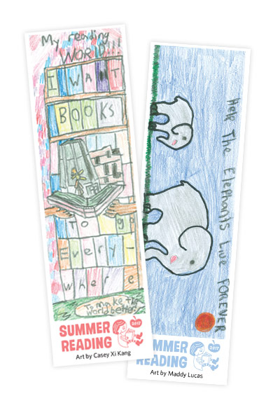 winning bookmarks from 2017 by Casey Xi Kang and Maddy Lucas