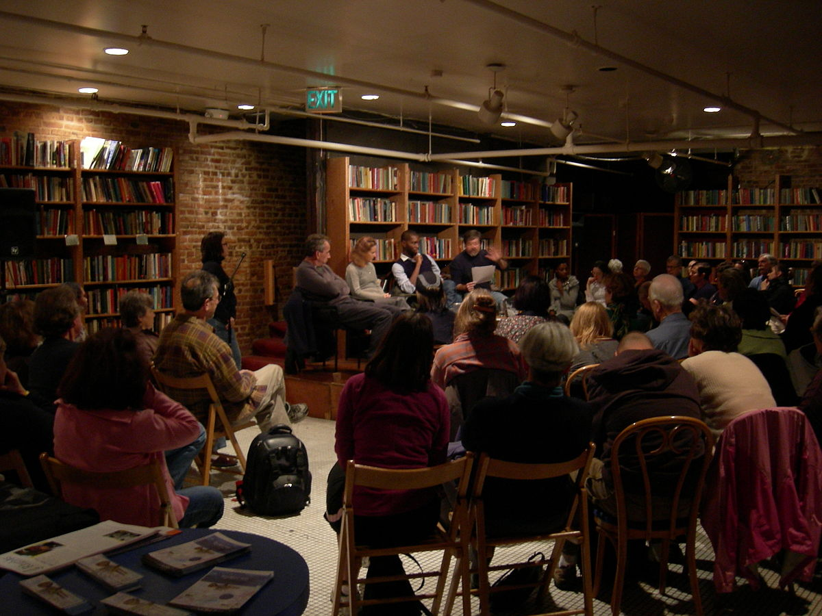 author reading in bookstore