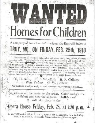 Flyer for home for children on orphan trains