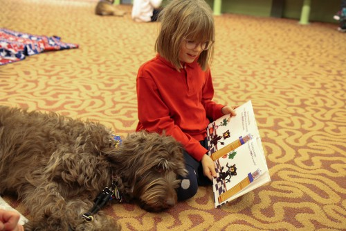 photo of a dog and girl at Reading to Rover