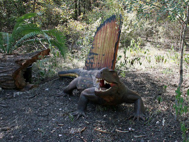 model of Dimetrodon in a forest