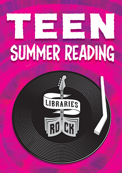 Teen Summer Reading, Libraries Rock logo on record player