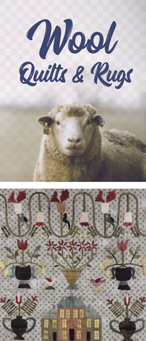Wool Quilts & Rugs with sheep image and image of wool appliqued quilt