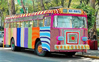 Yarn bombed bus