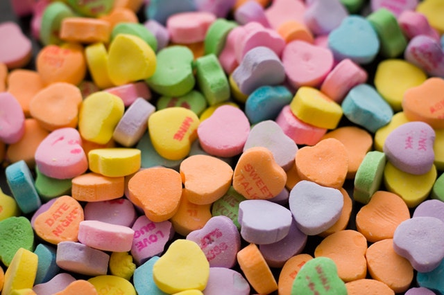 close up of candy conversation hearts