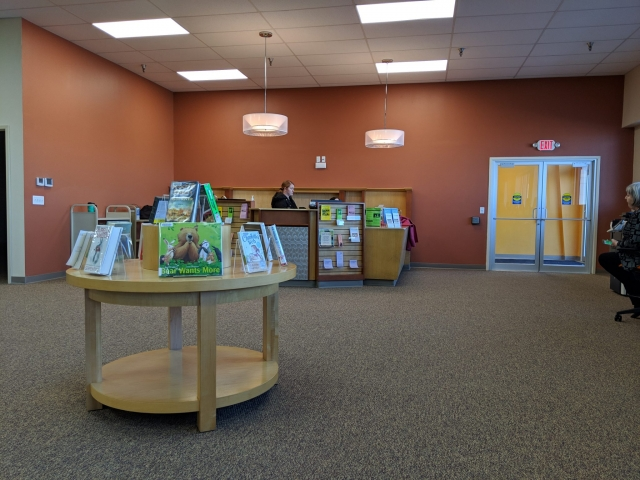 library entrance and welcome desk