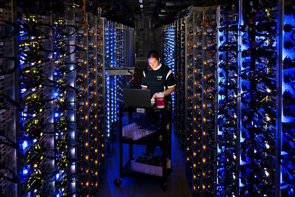 Worker in Google data center, The Dalles, Oregon.