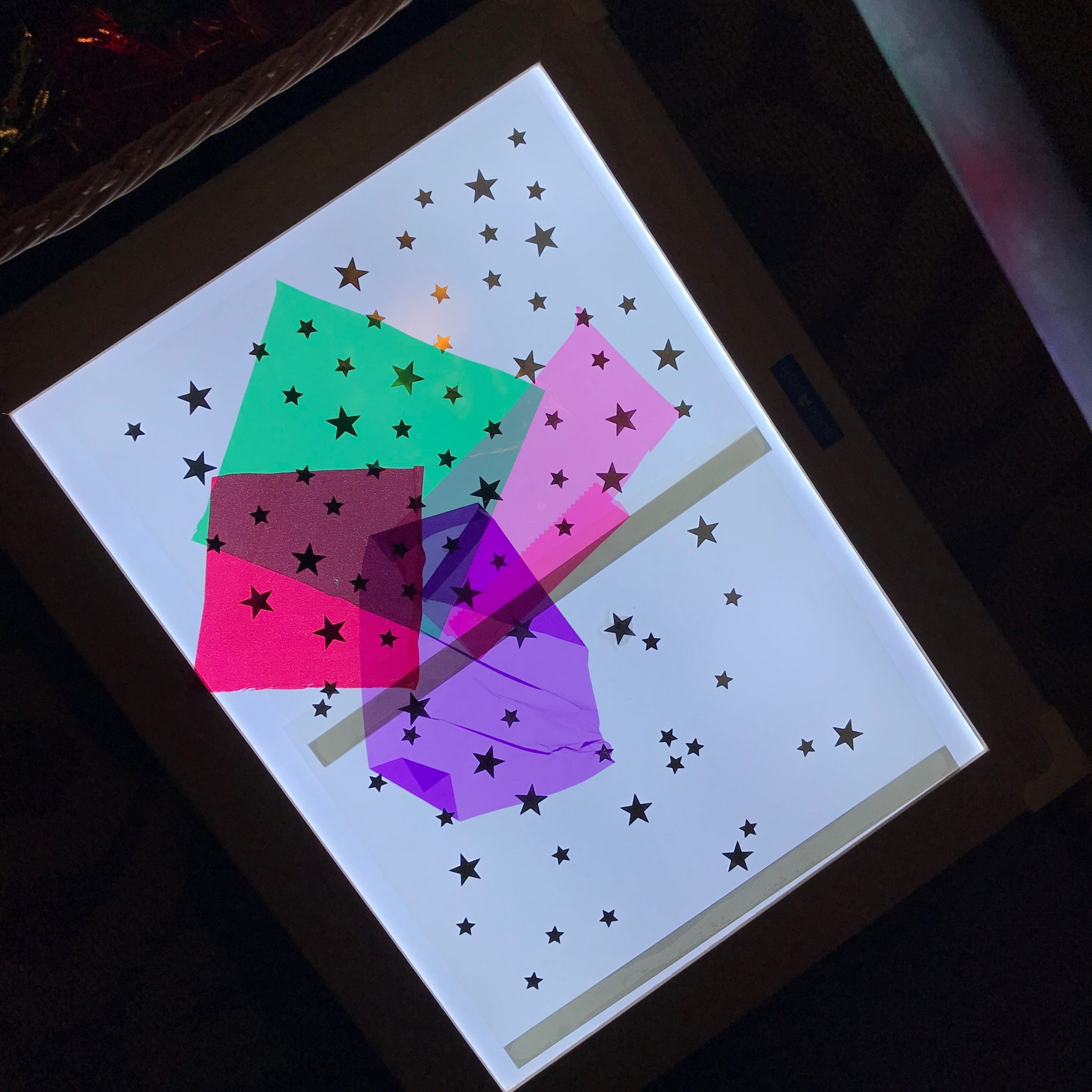 lightboard with stars and colors