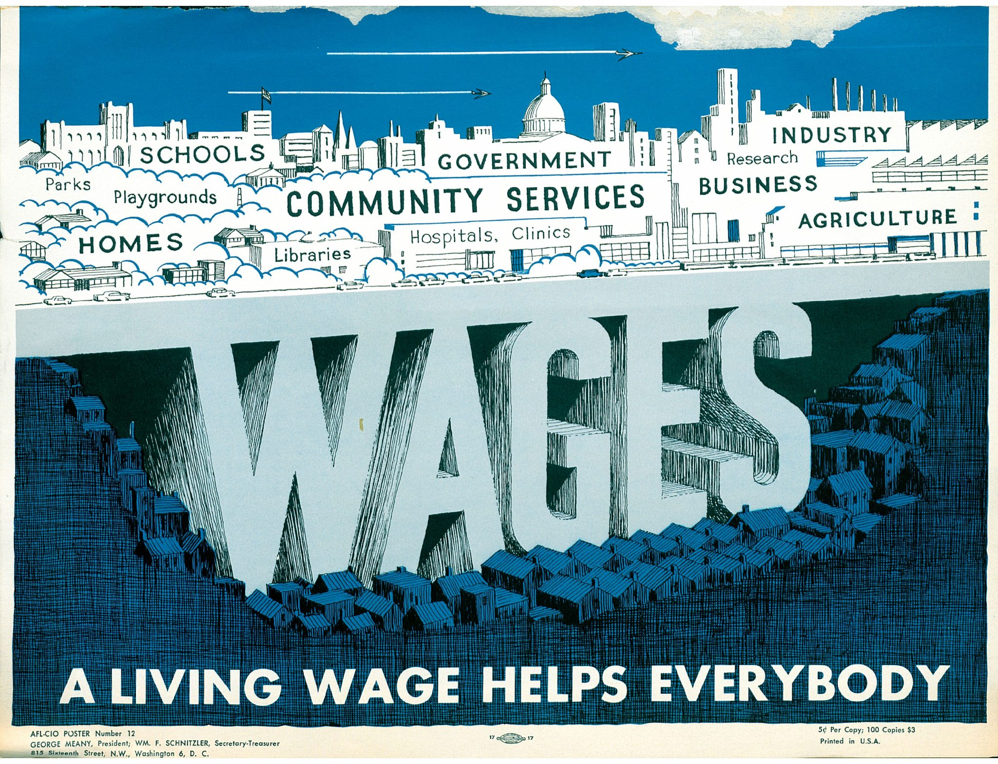 AFL-CIO Poster depicting a city held up by the word WAGES