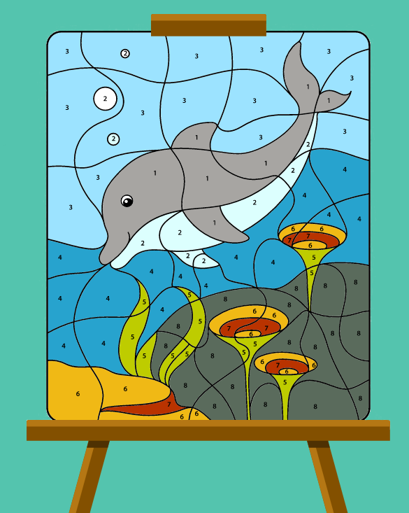 dolphin paint by numbers