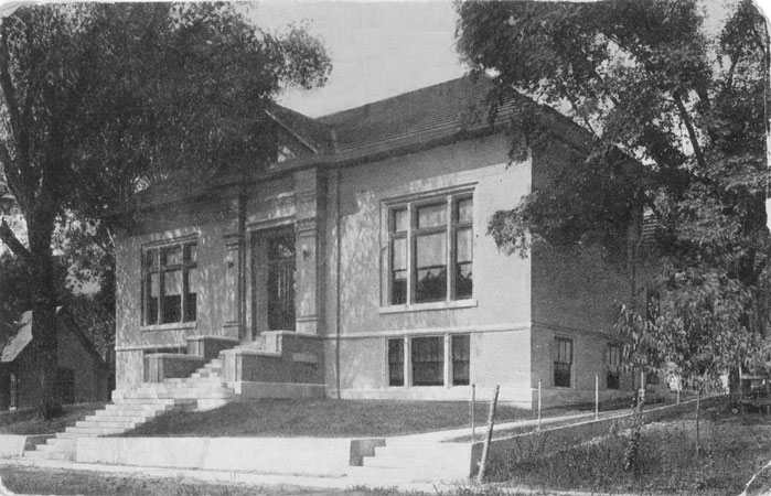 old postcard image of original Carnegie building portion of Callaway County Public Library