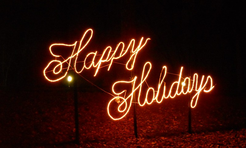 holiday lights spelling out Happy Holidays