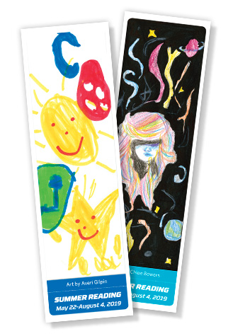 winning bookmarks from 2019 by Averi Gilpin and Chloe Bowers