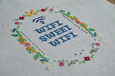 """Cross stitch that says """"Wifi Sweet Wifi"""""""
