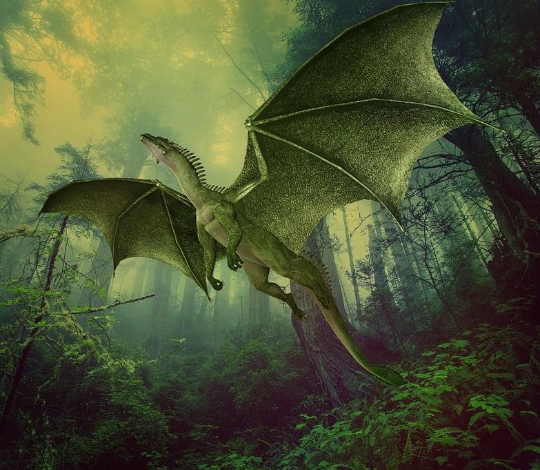 green dragon taking flight in forest