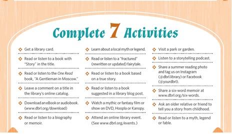 Adult Summer Reading Activity List