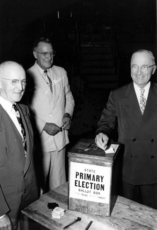 Harry Truman casts his vote