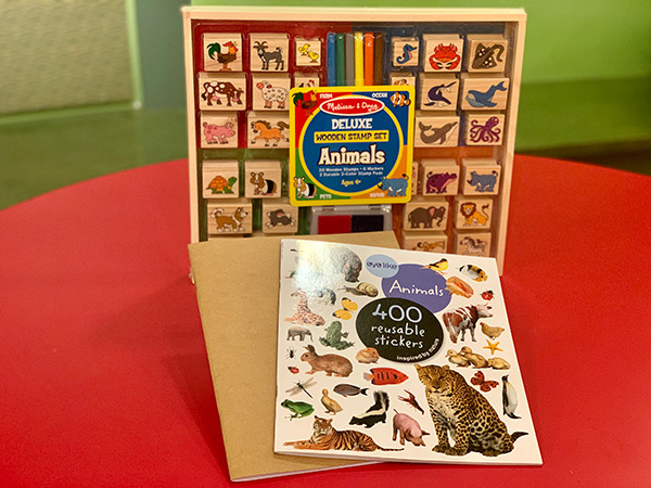 Wooden Animal Stamp Set, Animal Stickers and Journal