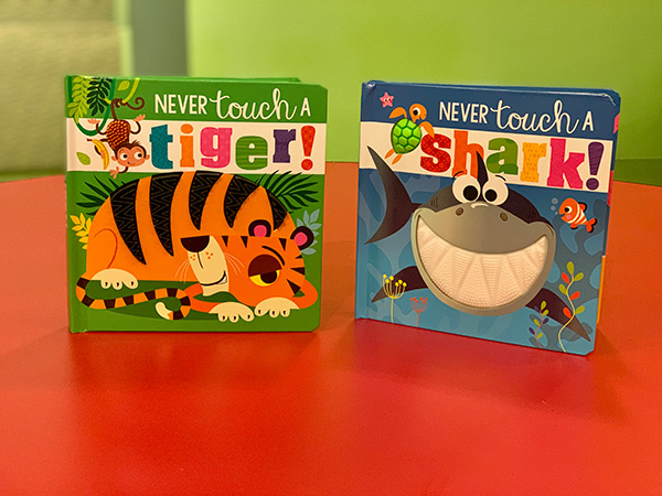"""""""Never Touch a Tiger"""" and """"Never Touch a Shark"""" book set"""