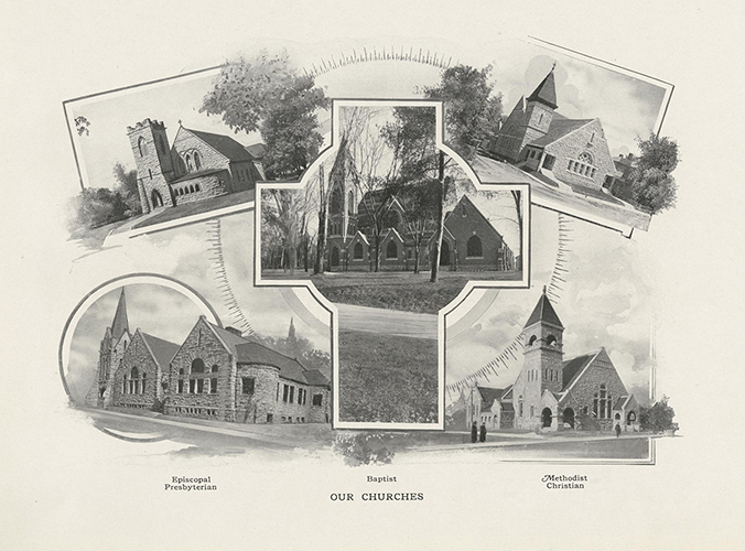 collage of Columbia-area churches in the early 20th century