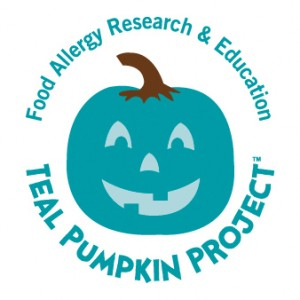 teal pumpkin with Teal Pumpkin Project, and Food Allergy Research & Education text